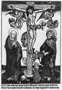 Figure 1 Crucifixion, artist unknown, 15th century woodcut.