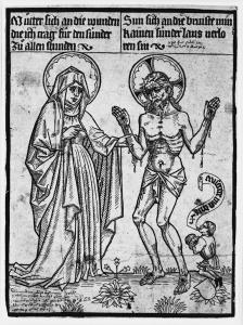 Figure 2. Christ as Man of Sorrows, artist unknown, 15th century woodcut.