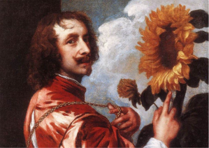 Figure 1. Anthony Van Dyck, Self Portrait with Sunflowers by Anthony Van Dyck. 1632. Oil on canvas. 73 x60 cm