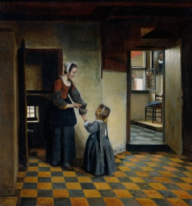Pieter de Hooch, A Woman with a Child in a Pantry, 1658